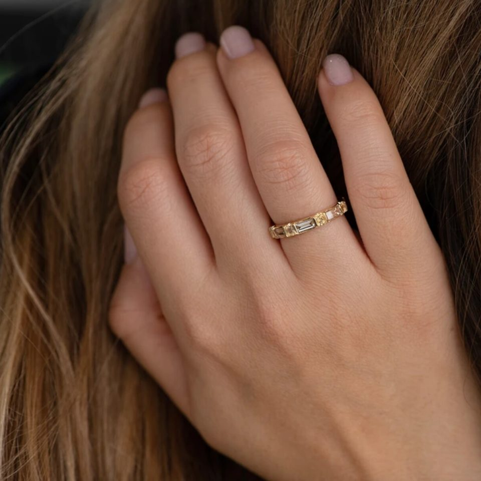 Artemer, Champagne Diamond & Baguette Eternity Ring, tomfoolery