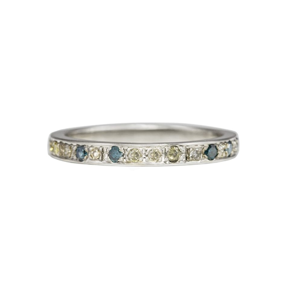 Muse by Tomfoolery, 18ct Gold Blue & Yellow Diamond Mottled Eternity Ring, tomfoolery