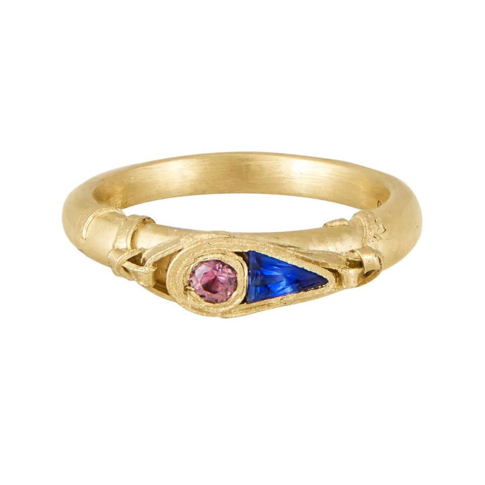 Fraser Hamilton, Tomfoolery, OOAK 14ct Yellow Gold Wrapped Sapphire Ring
