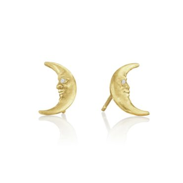 ANTHONY LENT, Tiny Crescent Moonface Stud Earrings  tomfoolery