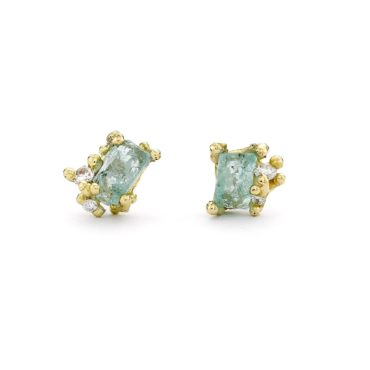 Ruth Tomlinson, Raw Emerald & Diamond Encrusted Studs, tomfoolery