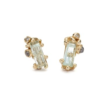 Ruth Tomlinson, Aquamarine & Grey Diamond Encrusted Studs tomfoolery