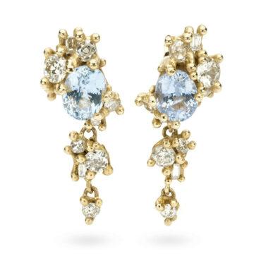 Ruth Tomlinson, Sapphire & Diamond Tumbling Cluster Drops tomfoolery