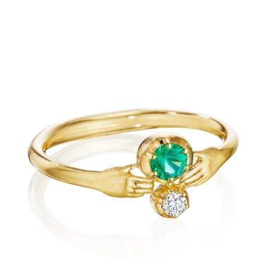 ANTHONY LENT, Emerald and Diamond Tiny Hands Ring, tomfoolery