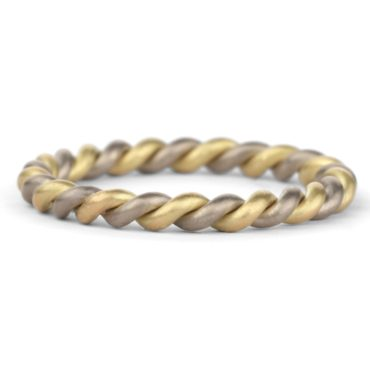 Shimell & Madden,  Two Strand Yellow & White Gold Wedding Ring, tomfoolery