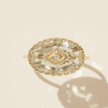 Pascale Monvoisin, Souad Green Amethyst & Diamond 9ct Yellow Gold Ring Tomfoolery