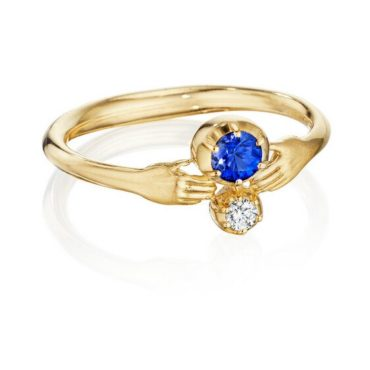ANTHONY LENT, Sapphire and Diamond Tiny Hands Ring, tomfoolery