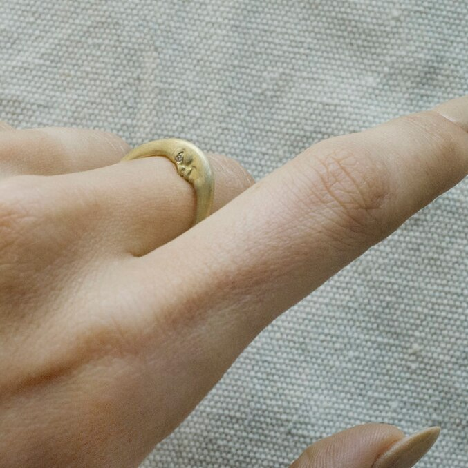 ANTHONY LENT, Crescent Moonface Ring, tomfoolery