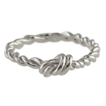 Silver Layla Small Knot with a Twit Stacking Ring, tomfoolery, Karen Hallam