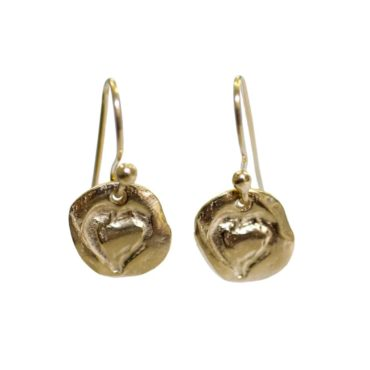 Gold Plated Silver Heart Earrings, karen hallam, tomfoolery