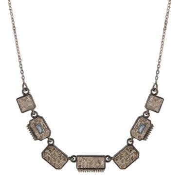 Shana Gulati, Diamond & Aquamarine Oxidised Silver Halki Necklace , Tomfoolery