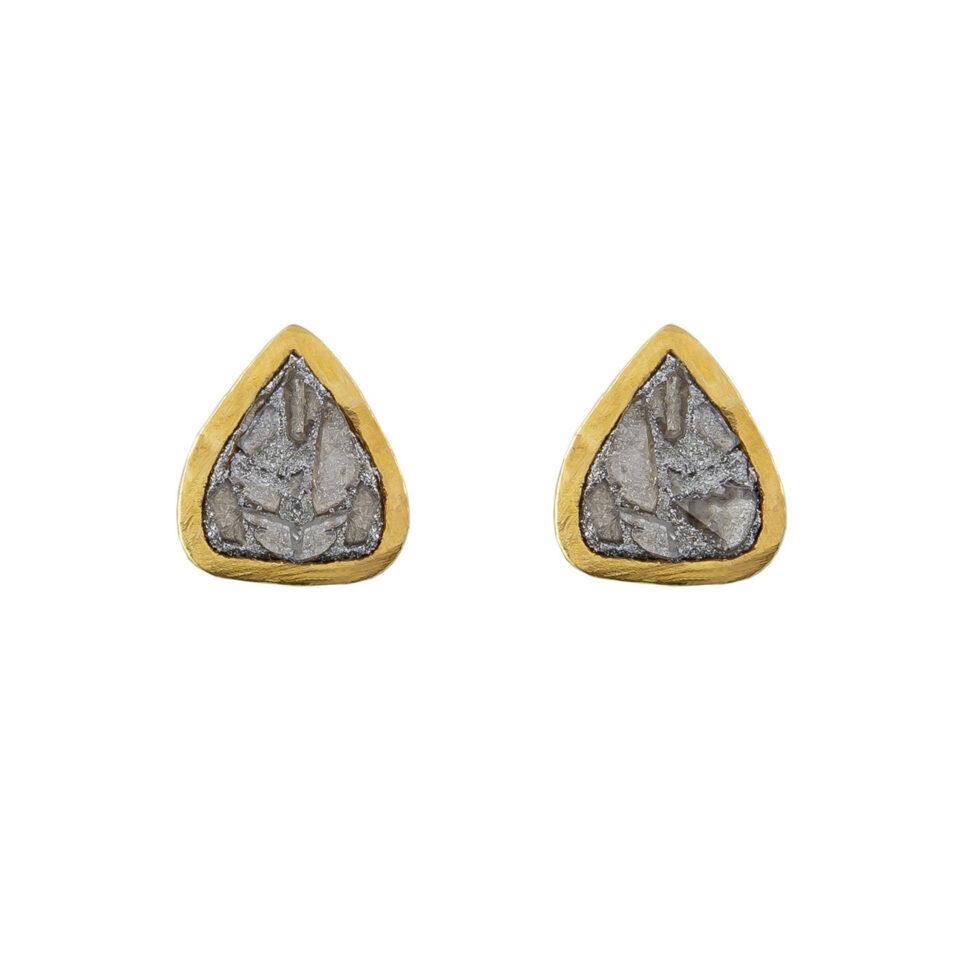 Shana Gulati, Gold- Plated Diamond Barrow Studs , Tomfoolery