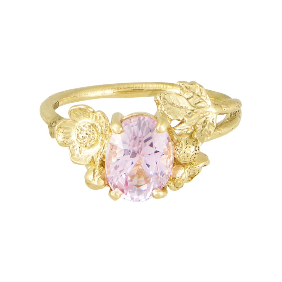 One of A Kind Pale Pink Oval Sapphire Floral Ring, alex monroe, tomfoolery