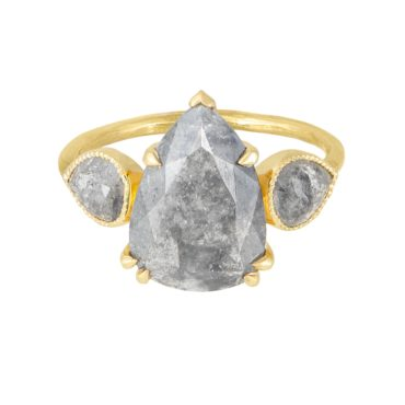 tf THREE, Trio Grey Pear Diamond Ring, tomfoolery