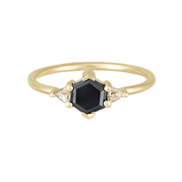 Hexagonal Black Diamond Trio Ring, tf THREE, tomfoolery
