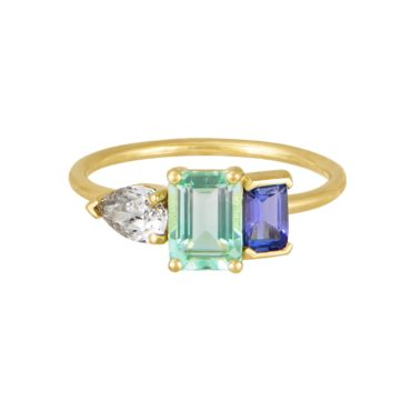 tf THREE, Trio Beryl, Diamond & Tanzanite Ring, tomfoolery