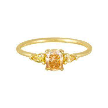 Trio Cushion Champagne & Yellow Diamond Ring, tf THREE, tomfoolery