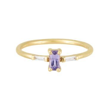 Trio Bageutte Sapphire needle bageutte Diamond Ring tf THREE, tomfoolery