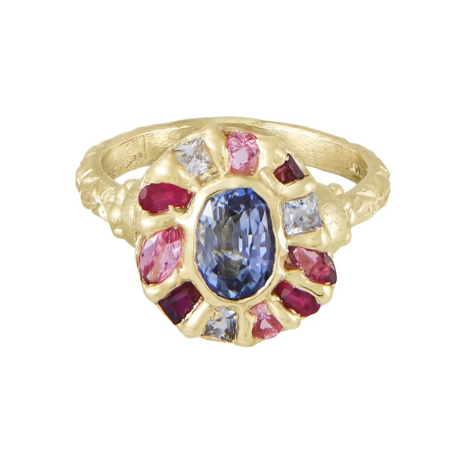 tomfoolery jewellery gallery:  Red & Blue Kaleidoscope Halo Ring By Ciara Bowles