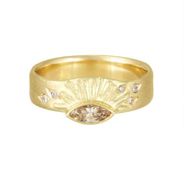 Claire Macfarlane, 18ct Yellow Gold Sun Ray Marquise Ring, Tomfoolery London