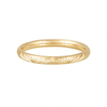 Claire Macfarlane, Yellow Gold Engraved Band Ring, Tomfoolery London