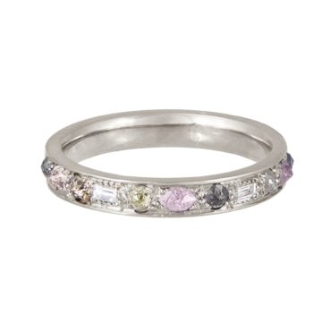 tomfoolery, 18ct White Gold Mixed Cut Puzzle Pink Diamond Eternity Ring, Muse by tomfoolery