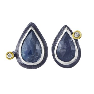 Oxidised Silver & Sapphire Studs with Diamonds, Shimara Carlow, tomfoolery