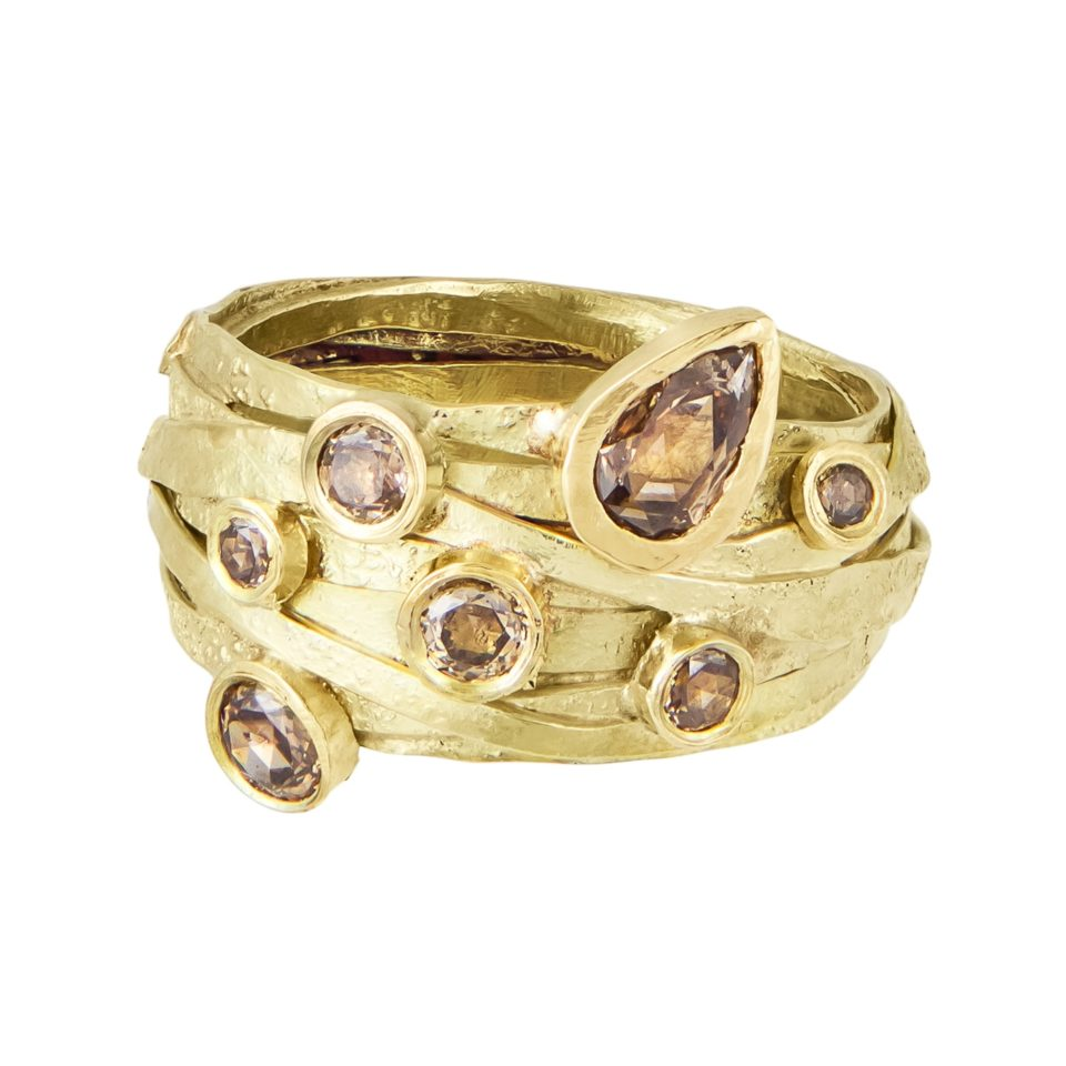 18ct Yellow Gold Wrap Ring with Champagne Diamonds, Shimara carlow, tomfoolery