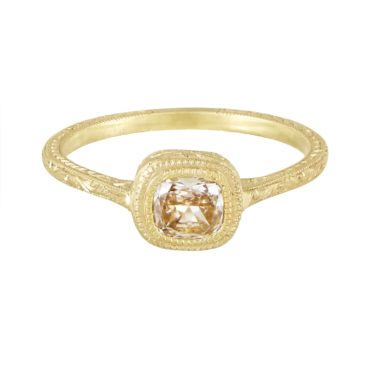 Diana Mitchell, tomfoolery,Engraved Champagne Diamond Cathedral Engagement Ring