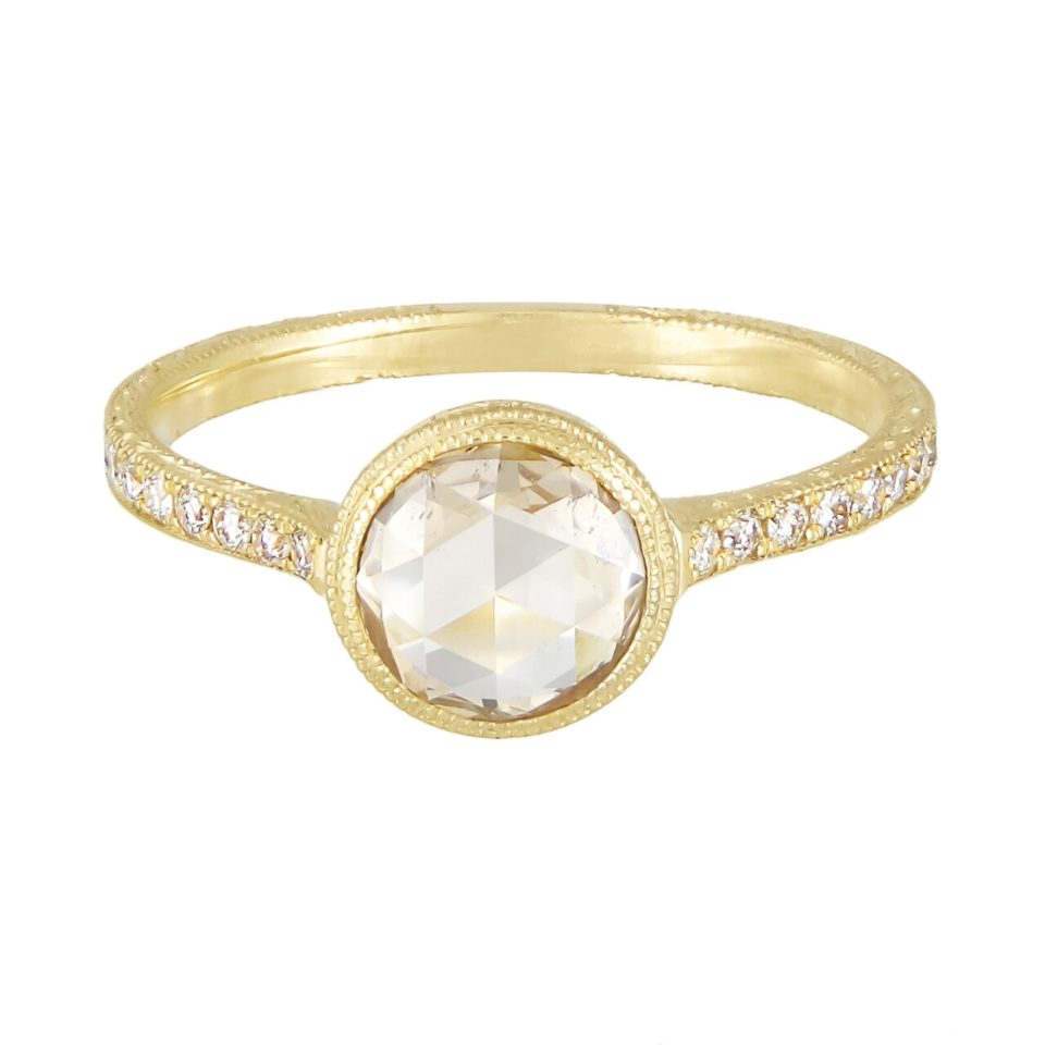 Diana Mitchell, tomfoolery,Engraved Round Rose Cut Diamond Cathedral Engagement Ring