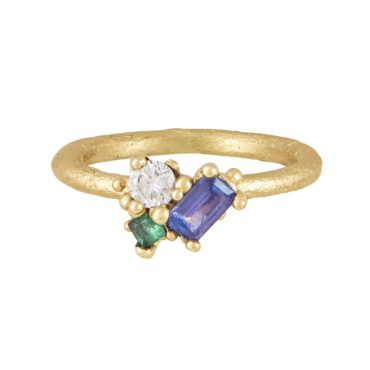 Tomfoolery Exclusive - OOAK Contrast Cut Tanzanite Cluster Ring, Ruth Tomlinson