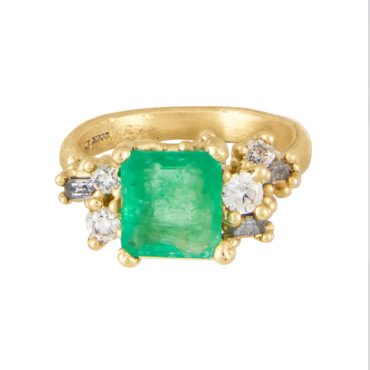 Tomfoolery Exclusive - OOAK Emerald & Diamond Luminous Cluster Ring, Ruth Tomlinson