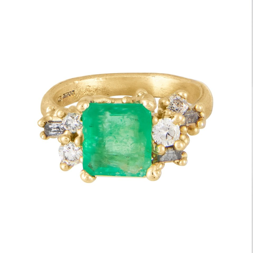Tomfoolery Exclusive - OOAK Emerald & Diamond Luminous Cluster Ring, Ruth Tomlinson