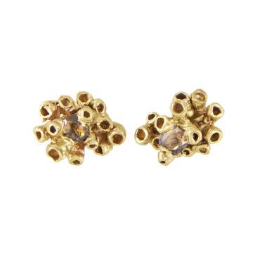Ami Pepper, Diamond Barnacle Stud Earrings. Tomfoolery London