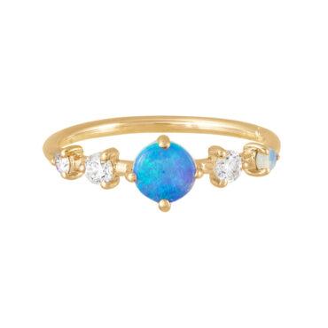 tomfoolery jewellery gallery: Opal & diamond horizan ring by WWAKE