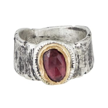 Franny E, Silver & Pink Tourmaline Wide Band Ring, Tomfoolery London