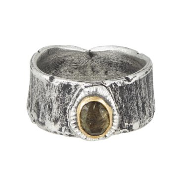 Franny E, Silver & Green Tourmaline Wide Band Ring, Tomfoolery London
