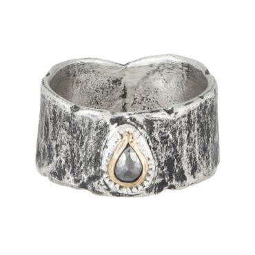 Franny E, Silver & Grey Diamond Teardrop Wide Band Ring, Tomfoolery London