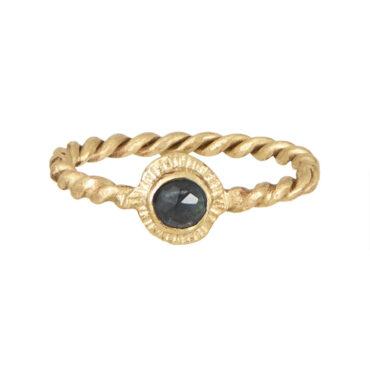 Franny E, 14ct Yellow Gold & Blue Tourmaline Signature 'Twist' Ring , Tomfoolery London