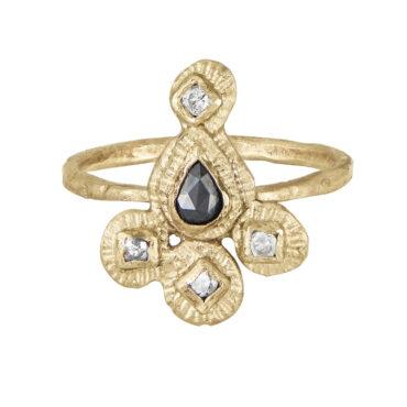 Franny E, 14ct Yellow Gold Paisley Ring, Tomfoolery London