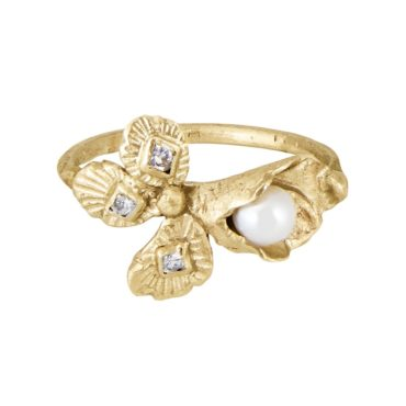 Franny E, 14ct Yellow Gold and Pearl Lily of Life's Meaning Ring, Tomfoolery London