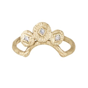 Franny E, 14ct Yellow Gold Small Signature Arc Crown Ring, Tomfoolery London