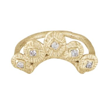 Franny E, 14ct Yellow Gold Signature Arc Crown Ring, Tomfoolery London