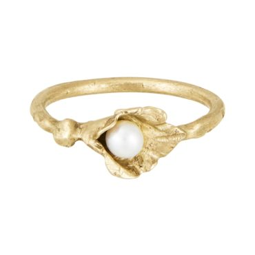 Franny E, 14ct Yellow Gold and Pearl Infinite Lily Ring, Tomfoolery London