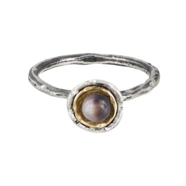 Franny E, Silver Wild Ocean Pearl Ring , Tomfoolery London