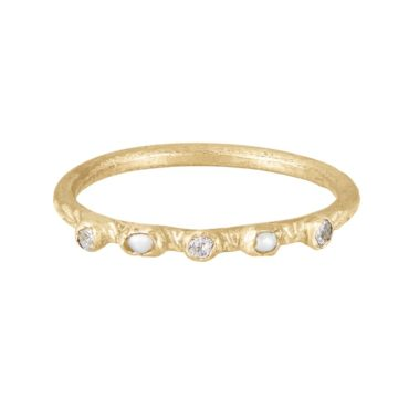 """Franny E, 14ct Yellow Gold, Diamond and Pearl """"Secret Garden Seeds' Band, Tomfoolery London"""