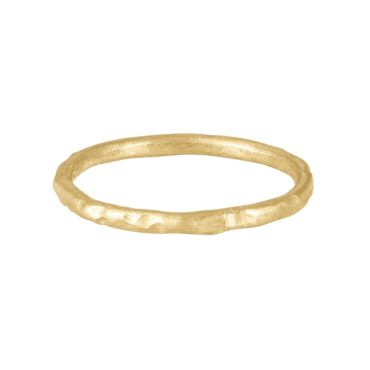 Franny E, 14ct Yellow Gold Signature Hammered Band, Tomfoolery London