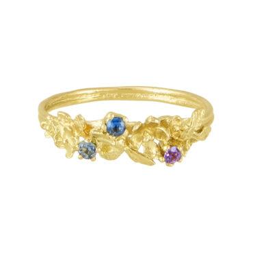 alex monroe, tomfoolery, Beekeeper sapphire twist ring - calabria stones
