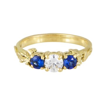 One of A Kind Diamond & Sapphire Trilogy Ring, alex monroe, tomfoolery
