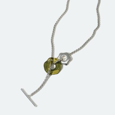 Cled, Silver Avens Toggle Glass Necklace, Tomfoolery London